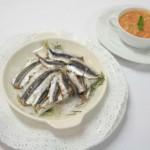 Alici al sale e aromi con gazpacho di cereali e verdure dell'orto